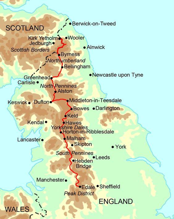 Pennine Way na mapě Anglie.