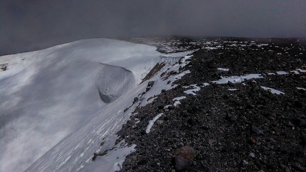 A crater! What else to expect at volcano summit?